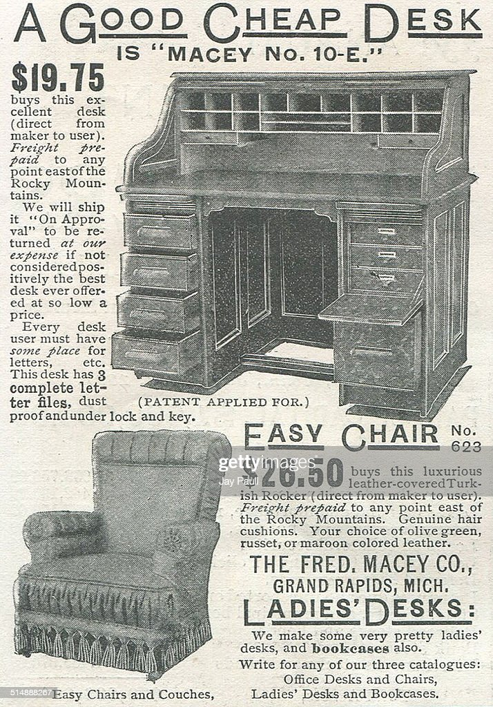 Advertisement For Macey Desks And Easy Chairs By The Fred Macey Company In Grand  Rapids Michigan