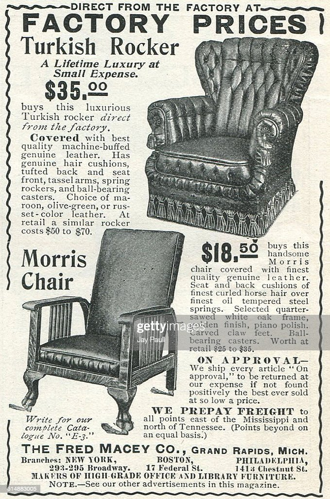 Advertisement For Macey Turkish Rockers And Morris Chairs By The Fred Macey  Company In Grand Rapids