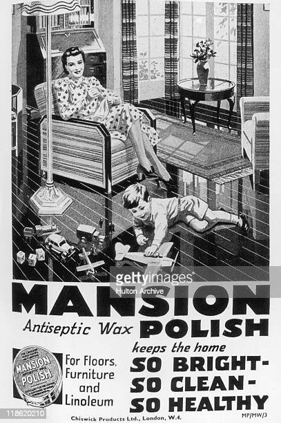 Advertisement for Mansion antiseptic wax polish, for floors, furniture and linoleum, with an image depicting a mother relaxing in an arm chair and a...