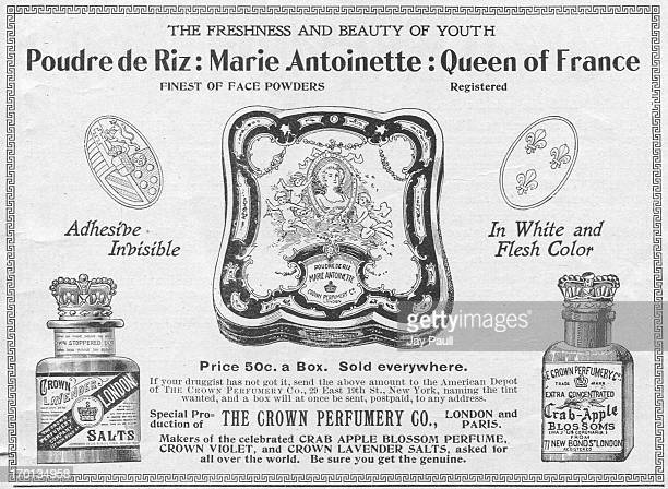 Advertisement for Marie Antoinette Queen of France face powder by the Crown Perfumery Company in London 1899