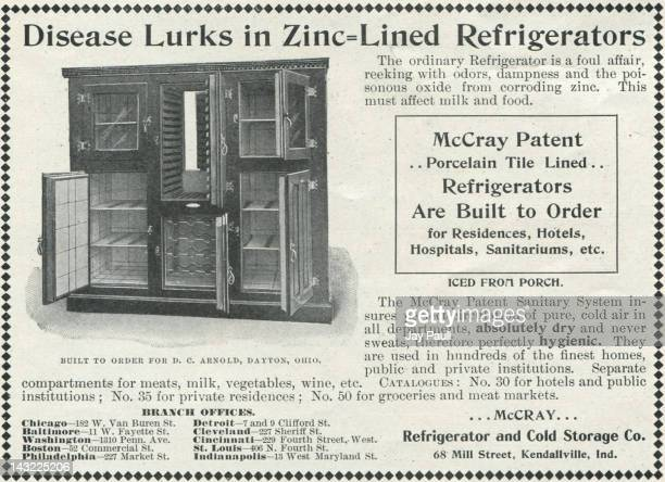 Advertisement for McCray porcelain tile lined refrigerators 1899