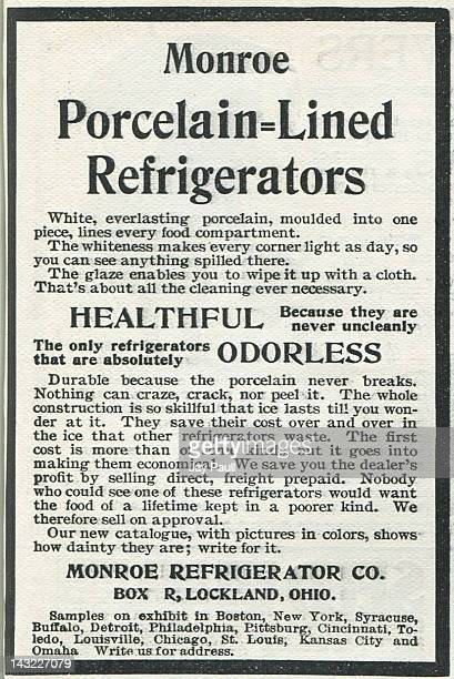 Advertisement for Monroe refrigerator 1899
