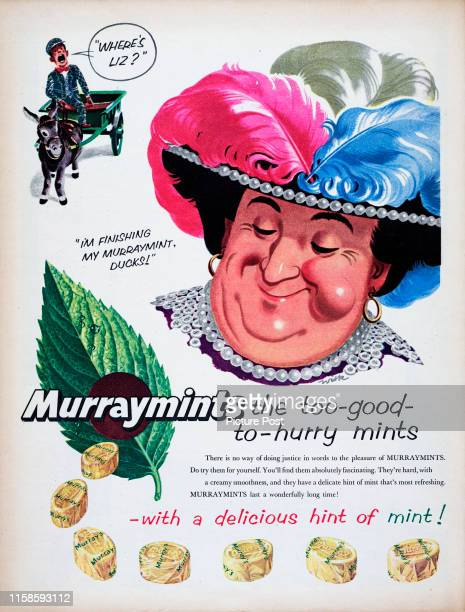 Advertisement for Murraymints mint candy showing a Pearly King and Queen.Original Publication: Picture Post Ad - Vol 69 No 09 P40 - pub. 26th...