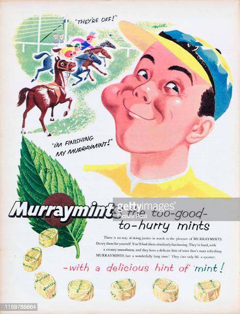 Advertisement for Murraymints mint sweets showing a jockey and horse racing with the caption 'Murraymints, the too-good-to-hurry mints.' Original...