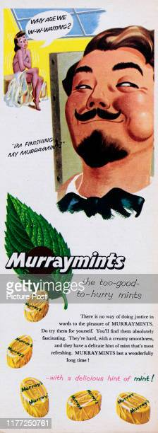 """Advertisement for Murraymints mint sweets with the caption """"I'm finishing my Murraymint"""". Original Publication: Picture Post Ad - Vol 70 No 08 P 40 -..."""