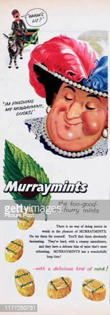Advertisement for Murraymints with the caption 'I'm finishing my Murraymint ducks!'. Original Publication: Picture Post Ad - Vol 70 No 10 P40 - pub....