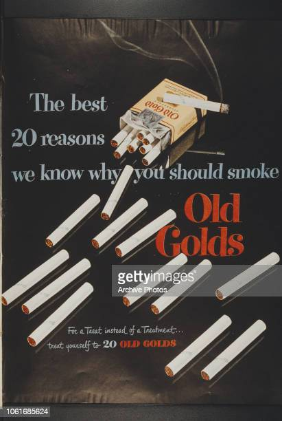 Advertisement for Old Gold cigarettes, proclaiming them to be 'The best 20 reasons we know why you should smoke'.