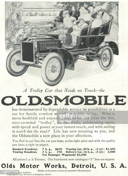 Advertisement for Oldsmobile by Olds Motor Works in Detroit Art work by Karl Anderson 1905