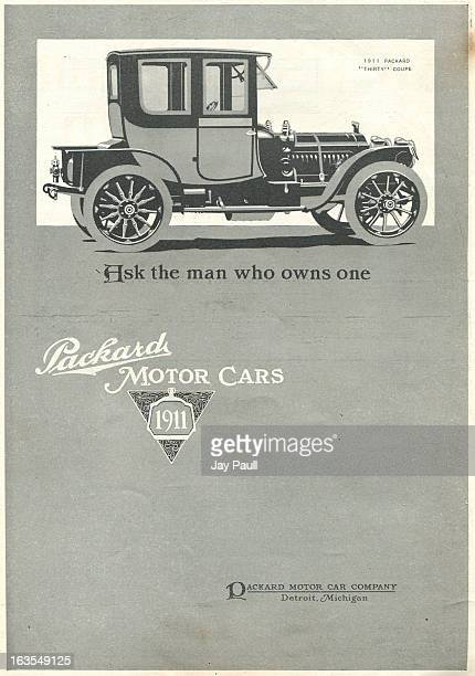 Advertisement for Packard motor cars by the Packard Motor Car Company in Detroit Michigan 1910 The 'Thirty' coupe is pictured