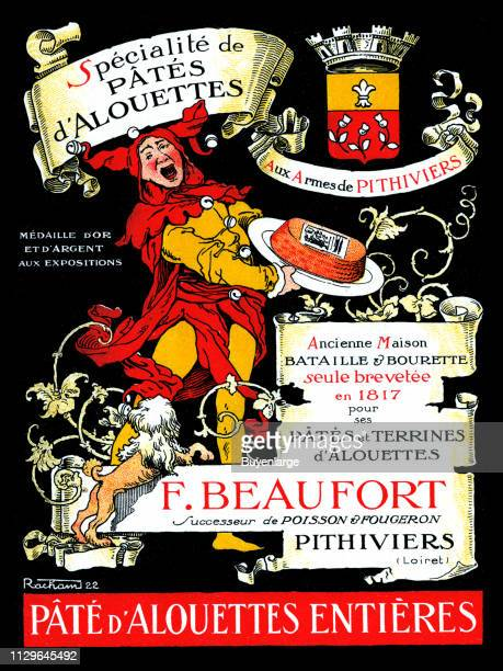 Advertisement for pate features an illustration of a court jester as he holds a later plate of pate
