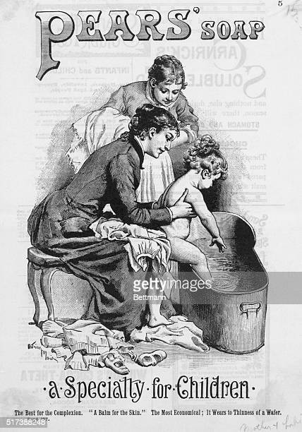 Advertisement for pears' soap A mother helps child into bathtub Engraving September 1887 BPA2# 446