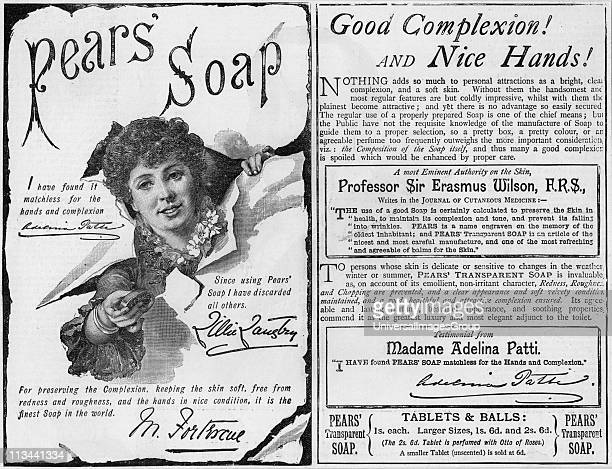 Advertisement for Pears' soap using endorsements from famous people including the soprano Adelina Patti and the actress Lillie Langtry From The...