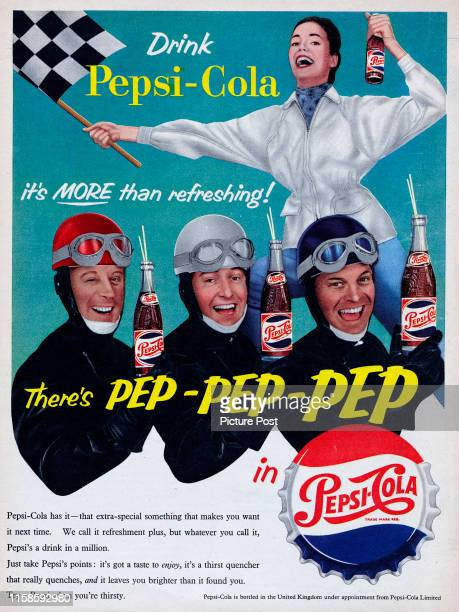 Advertisement for Pepsi-Cola showing racing car drivers and a woman waving a chequered flag. Original Publication: Picture Post Ad - Vol 72 No 6 P...
