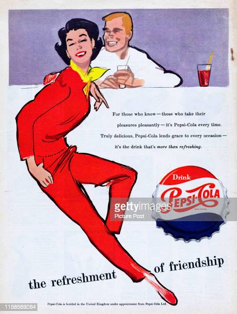 Advertisement for Pepsi-Cola with the caption 'the refreshment of friendship'. Original Publication: Picture Post Ad - Vol 71 No 12 P Back Cover -...
