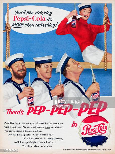 Advertisement for Pepsi-Cola with the caption 'There's PEP-PEP-PEP in Pepsi-Cola'. Original Publication: Picture Post Ad - Vol 71 No 7 P Back Cover -...