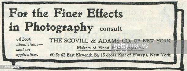 Advertisement for photography supplies by the Scovill Adams Company in New York 1899