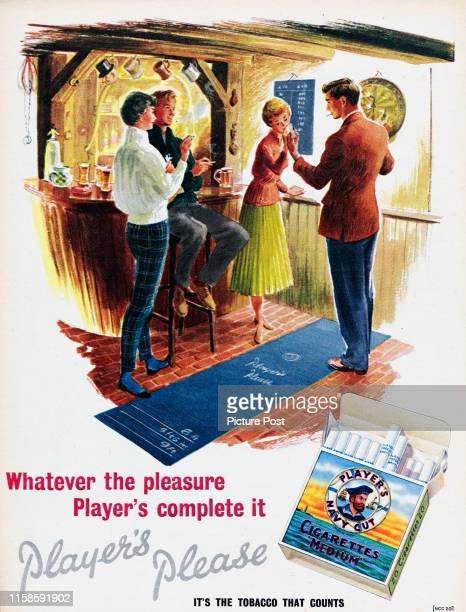 Advertisement for Player's Navy Cut cigarettes showing two couples playing darts in a pub Original Publication Picture Post Ad Vol 71 No 1 P 28 pub...