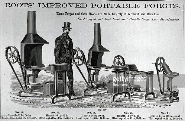 Advertisement for portable forges. Ca. Late 19th century. Roots' Improved Portable Forge.