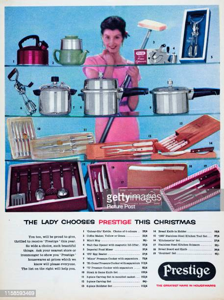 Advertisement for Prestige housewarewith the caption 'The lady chooses Prestige this Christmas' Original Publication Picture Post Ad Vol 69 No 07...