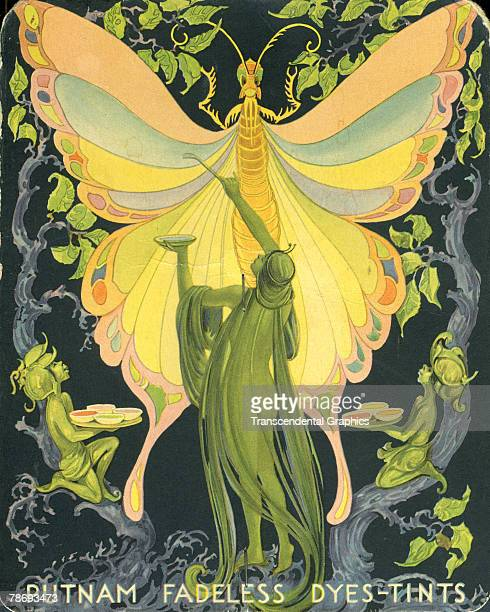Advertisement for Putnam Fadless dyes and tints depicts an Art Nouveauinspired trio of fairies as they paint a butterfly 1910s or 1920s The ad is...