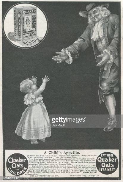 Advertisement for Quaker Oats by the American Cereal Company in Chicago, Illinois, 1900.