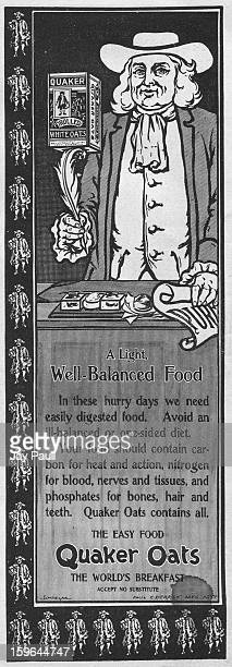 Advertisement for Quaker Oats by the American Cereal Company in Chicago, Illinois, 1899.