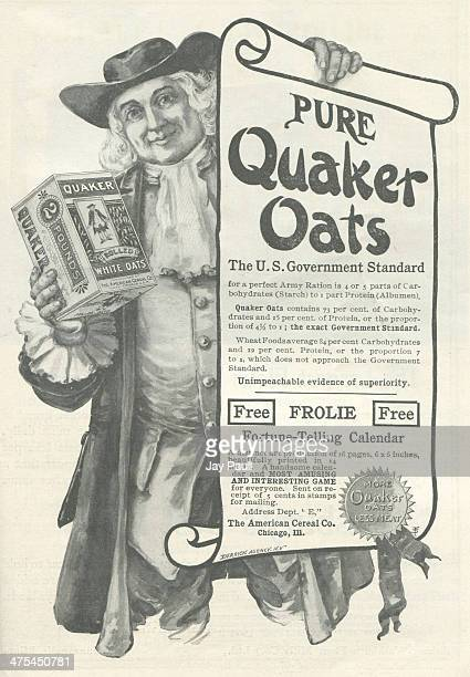 Advertisement for Quaker Oats by the American Cereal Company in Chicago, Illinois, 1901. The Derrick Advertising agency is noted.