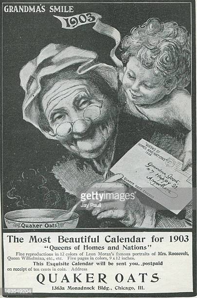 Advertisement for Quaker Oats featuring the 'Queens of Homes and Nations' calendar by Quaker Oats in Chicago, Illinois, 1902.