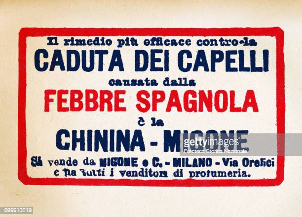 Advertisement for 'Quinine Migone' a remedy for hair loss caused by the Spanish flu Typografic clip Italy Milan 1918