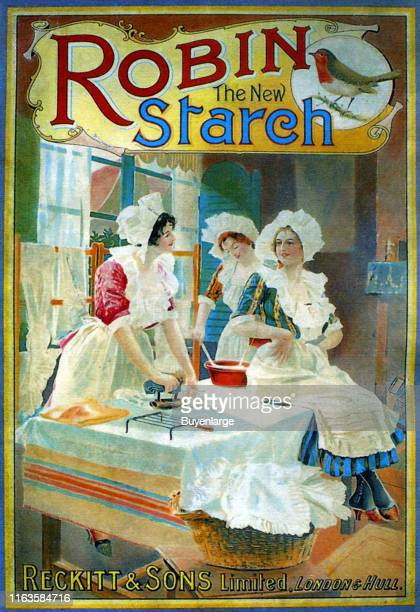 Advertisement for Robin Starch features an illustration of a trio of women as the Iron and wash laundry 1895