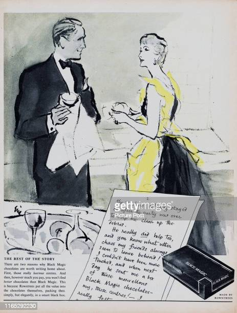 Advertisement for Rowntree's Black Magic chocolates showing a handwritten letter and a well-dressed man and woman cleaning up after a dinner party....