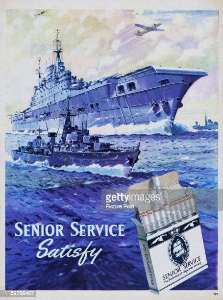 Advertisement for Senior Service cigarettes with a painting showing battleships at sea Original Publication Picture Post Ad Vol 68 No 10 P Back Cover...