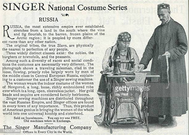 Advertisement for Singer Sewing Machines National costume series features Russia 1899