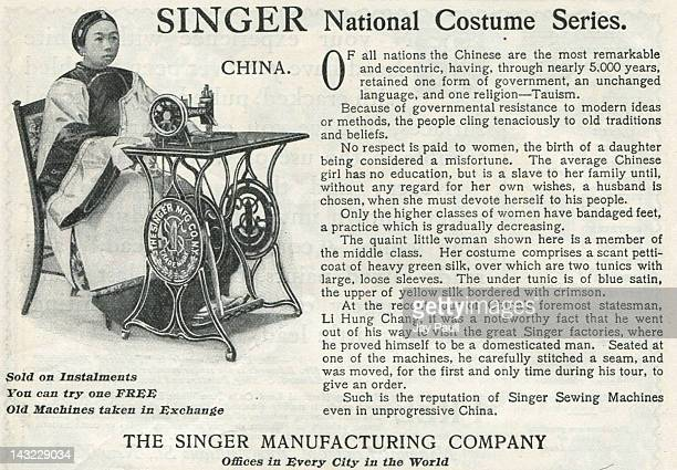 Advertisement for Singer Sewing Machines National costume series features China 1899