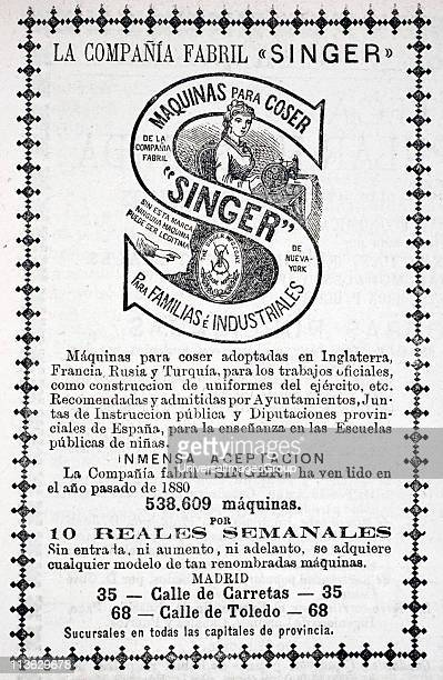 Advertisement for Singer sewing machines to be bought on credit system in 1880 edition of Spanish publication Revista Popular de Conocimientos Utiles