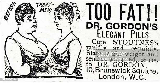 Advertisement for slimming pills. Dated 19th century.