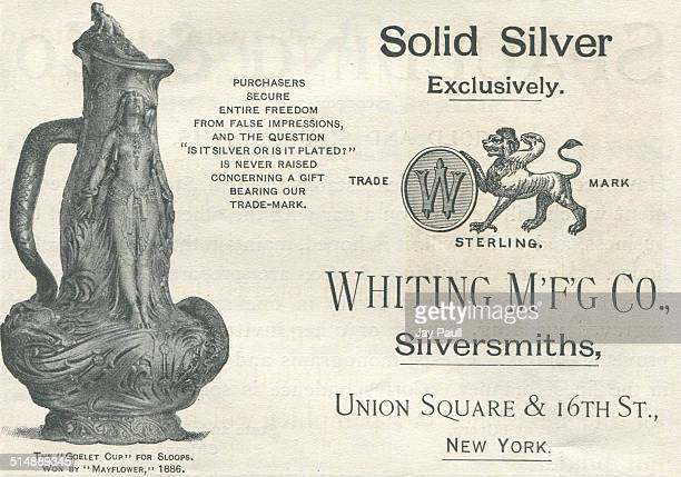 Advertisement for sterling silver by silversmiths Whiting Manufacturing Company in New York 1892 The ad pictures the Goelet Cup for sloops won by...