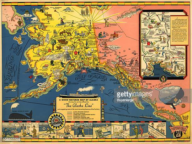 Advertisement for the Alaska Steamship Company 1934 The advertisement shows a map of different locations in Alaska along with the various ctivities...