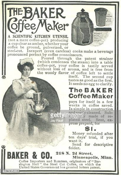 Advertisement For The Baker Coffee Maker By Baker And Company In    News Photo