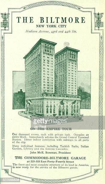 Advertisement for the Biltmore hotel on Madison Avenue next to the Grand Central Terminal Station New York New York 1919