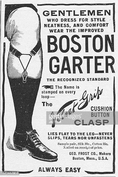 Advertisement for the Boston Garter with Velvet Grip clasp by the George Frost Company in Boston, Massachusetts, 1907.