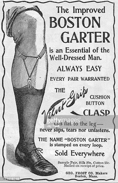 Advertisement for the Boston Garter with Velvet Grip clasp by the George Frost Company in Boston, Massachusetts, 1899.