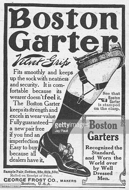 Advertisement for the Boston Garter with Velvet Grip clasp by the George Frost Company in Boston, Massachusetts, 1911.