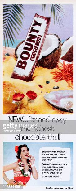 Advertisement for the Bountychocolate bar with the caption 'NEWfar and away the richest chocolate thrill' Original Publication Picture Post Ad Vol...