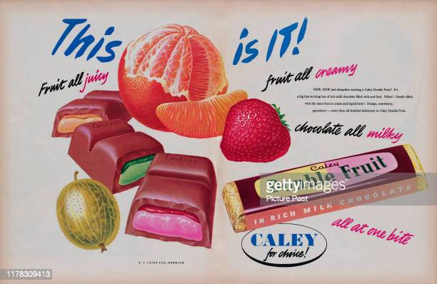 Advertisement for the Caley Double Fruitchocolate bar with the caption 'This is it' Original Publication Picture Post Ad Vol 67 No 09 P 48 49 pub...