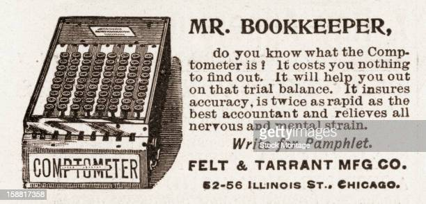 Advertisement for the 'Comptometer' 1896 Accompanied by an illustratio the text reads in part 'It insures accuracy is twice as rapid as the best...