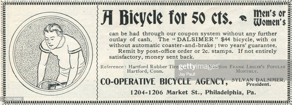 Advertisement for the Dalsimer bicycle by the Co-Operative Bicycle Agency in Philadelphia, Pennsylvania, 1899.