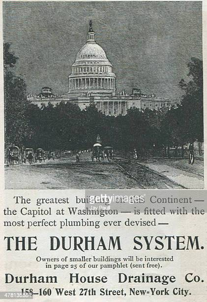 Advertisement for the Durham drainage plumbing system by the Durham House Drainage Company New York 1897 The ad states the US Capitol building in...