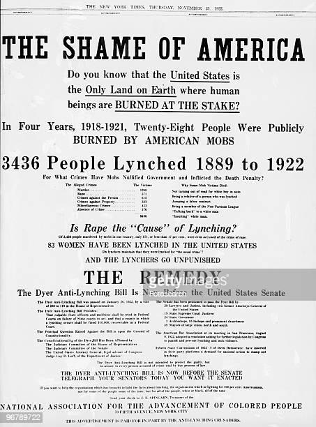 Advertisement for the Dyer AntiLynching Bill headlined 'The Shame Of America' sponsored by The National Association For The Advancement Of Colored...