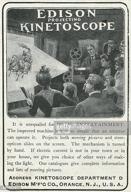 Advertisement for the Edison Kinetoscope for home entertainment to show moving pictures and stereopticon slides developed by Thomas Edison by the...